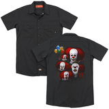 IT 1990 Many Faces Of Pennywise (Back Print) Adult Work Shirt Black