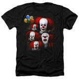 IT 1990 Many Faces Of Pennywise Adult Heather T-Shirt Black