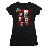 IT 1990 Many Faces Of Pennywise Junior Women's T-Shirt Black