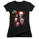 IT 1990 Many Faces Of Pennywise Junior Women's V-Neck T-Shirt Black
