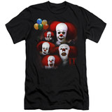 IT 1990 Many Faces Of Pennywise Premium Adult 30/1 T-Shirt Black
