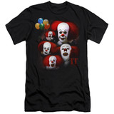 IT 1990 Many Faces Of Pennywise Adult 30/1 T-Shirt Black