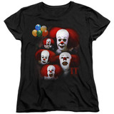 IT 1990 Many Faces Of Pennywise Women's T-Shirt Black