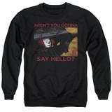 IT 1990 Hello Adult Crewneck Sweatshirt Black