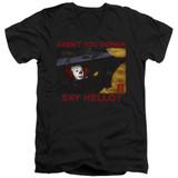 IT 1990 Hello Adult V-Neck T-Shirt Black