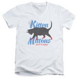 It's Always Sunny In Philadelphia Kitten Mittons Adult V-Neck T-Shirt White