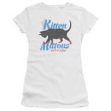 It's Always Sunny In Philadelphia Kitten Mittons Junior Women's Sheer T-Shirt White