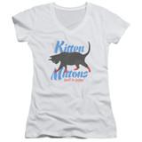 It's Always Sunny In Philadelphia Kitten Mittons Junior Women's V-Neck T-Shirt White