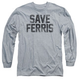 Ferris Bueller's Day Off Save Ferris Adult Long Sleeve T-Shirt Athletic Heather