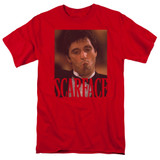 Scarface Smoking Cigar Adult 18/1 T-Shirt Red