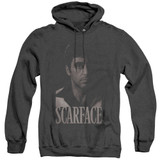 Scarface Black And White Tony Adult Heather Hoodie Sweatshirt Black