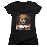 Annabelle Annabelle Portrait Junior Women's V-Neck T-Shirt Black