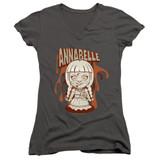 Annabelle Annabelle Illustration Junior Women's V-Neck T-Shirt Charcoal