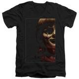 Annabelle Doll Tear Adult V-Neck T-Shirt Black