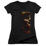 Annabelle Doll Tear Junior Women's V-Neck T-Shirt Black