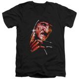 A Nightmare on Elm Street Freddy's Face Adult V-Neck T-Shirt Black