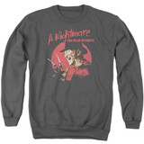 A Nightmare on Elm Street Freddy Circle Adult Crewneck Sweatshirt Charcoal