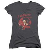 A Nightmare on Elm Street Freddy Circle Junior Women's V-Neck T-Shirt Charcoal