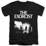 The Exorcist Poster Adult V-Neck 30/1 T-Shirt Black