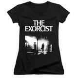 The Exorcist Poster Junior Women's V-Neck T-Shirt Black