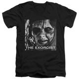 The Exorcist Regan Approach Adult V-Neck 30/1 T-Shirt Black