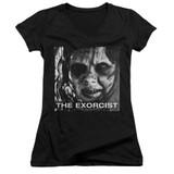 The Exorcist Regan Approach Junior Women's V-Neck T-Shirt Black
