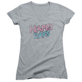 Happy Days Distressed Junior Women's V-Neck T-Shirt Athletic Heather