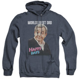 Happy Days Best Dad Adult Heather Hoodie Sweatshirt Navy