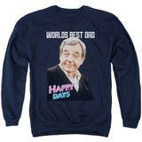 Happy Days Best Dad Adult Crewneck Sweatshirt Navy
