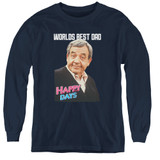 Happy Days Best Dad Youth Long Sleeve T-Shirt Navy