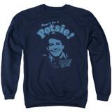 Happy Days Don't Be A Potsy Adult Crewneck Sweatshirt Navy