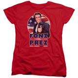 Happy Days Fonz For Prez Women's T-Shirt Red