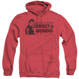Happy Days Correct A Mundo Adult Heather Hoodie Sweatshirt Red