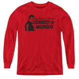 Happy Days Correct A Mundo Youth Long Sleeve T-Shirt Red