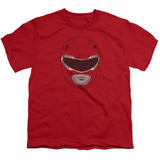 Power Rangers Red Ranger Mask Youth T-Shirt Red