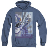 Power Rangers Blue Ranger Deco Adult Heather Hoodie Sweatshirt Royal Blue