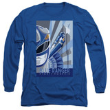 Power Rangers Blue Ranger Deco Adult Long Sleeve T-Shirt Royal Blue