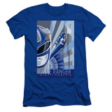 Power Rangers Blue Ranger Deco Adult 30/1 T-Shirt Royal Blue