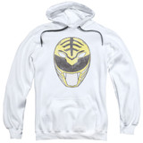 Power Rangers White Ranger Mask Adult Pullover Hoodie Sweatshirt White