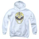 Power Rangers White Ranger Mask Youth Pullover Hoodie Sweatshirt White