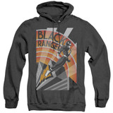 Power Rangers Black Ranger Deco Adult Heather Hoodie Sweatshirt Black