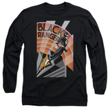 Power Rangers Black Ranger Deco Adult Long Sleeve T-Shirt Black