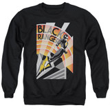Power Rangers Black Ranger Deco Adult Crewneck Sweatshirt Black