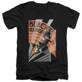 Power Rangers Black Ranger Deco Adult V-Neck T-Shirt Black