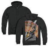 Power Rangers Black Ranger Deco (Back Print) Adult Zipper Hoodie Sweatshirt Black