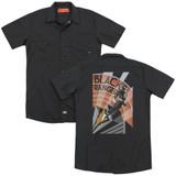Power Rangers Black Ranger Deco (Back Print) Adult Work Shirt Black