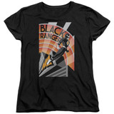 Power Rangers Black Ranger Deco Womens T-Shirt Black
