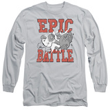 Family Guy Epic Battle Adult Long Sleeve T-Shirt Silver