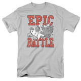 Family Guy Epic Battle Adult 18/1 T-Shirt Silver
