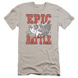 Family Guy Epic Battle Premium Canvas Adult Slim Fit T-Shirt Silver